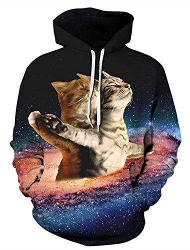 Leapparel Colourful 3D Pullover Hoodie Sweatshirt for Boy and Girl with Big Pocket Cool Graphic Prints Coat Galaxy Cat S/M
