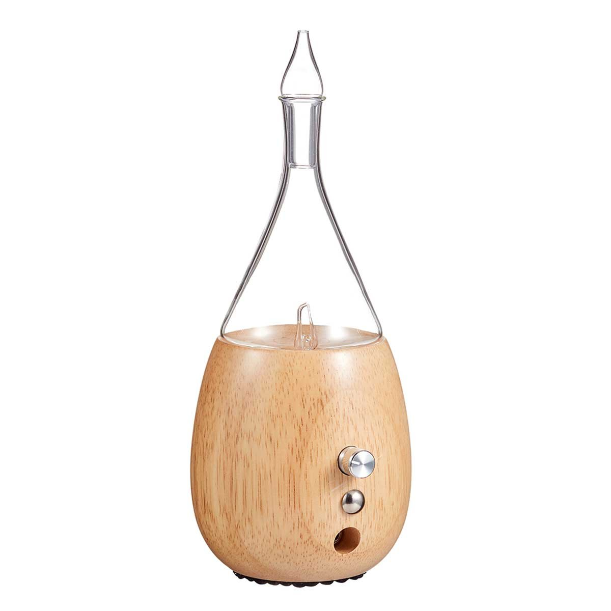Raindrop Nebulizing Essential Oil Diffuser For Aromatherapy By Organic Aromas Light-colored Wood Base and Glass Reservoir