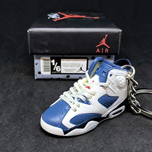 Air Jordan VI 6 Retro Olympic Navy Blue White OG Sneakers Shoes 3D Keychain 1:6 Figure + Shoe Box