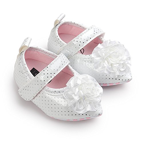 Estamico bebé niñas 'soporte de grandes flor punta Toe primera–Zapatos de Senderismo de piel sintética Mary Jane blanco blanco Talla:0-6 meses blanco