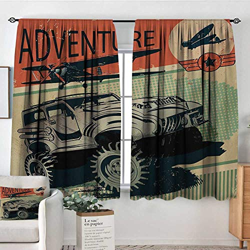 Theresa Dewey Blackout Curtains Adventure,Aged Damaged Display with Retro Elements Strong Vehicle and Airplanes Print,Tan Orange Green,Rod Pocket Curtain Panels for Bedroom & Kitchen 63