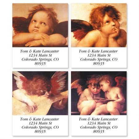 Personalized European Angels Square Christmas Self-Adhesive, Flat-Sheet Address Labels - Set of 144 holiday labels