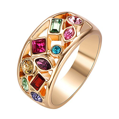Yoursfs Colorful Austrian Crystal Ring Jewellery for Lady Gorgeous Wedding Bands for Bridal Valentines Present Colored Stone Ring