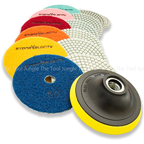 Diamond Polishing Pads 4 inch Wet/Dry 8 Piece Set Granite Stone Concrete Marble (The Polishing Diamond)