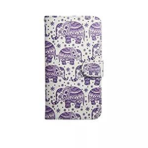 PIZU PU Leather Flip Wallet Card Slots Stand Case Colorful Pattern Blue Inner Housing Cover for Alcatel One Touch Pop C3 4033 Elephant