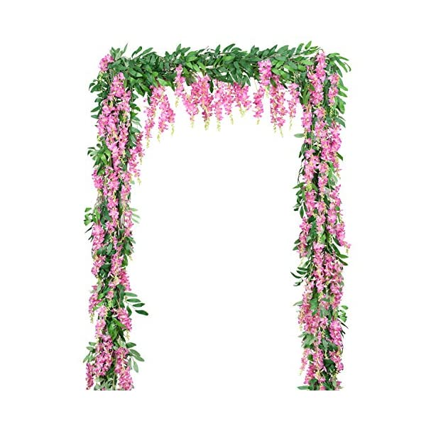 DearHouse 2Pcs 6Ft/Piece Artificial Flowers Silk Wisteria Garland Artificial Wisteria Vine Hanging Flower Greenery Garland for Home Garden Outdoor Wedding Arch Floral Decor (Pink)