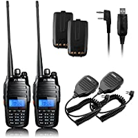 TYT TH-UV8000D 2PCS Ultra-high Output Power 10W Amateur Handheld Transceiver, Dual Band Dual Display Dual Standby Two Way Radio+2x BF-S112 Mic+Program Cable+2x Battery-Lightwish