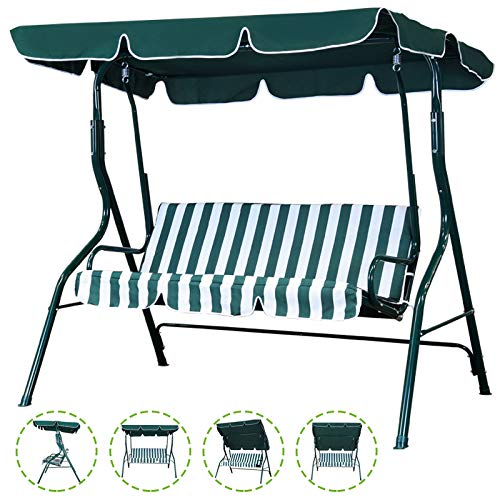 Flex HQ Patio Porch Swing Chair Canopy Outdoor Lounge 3-Person Seat Hang Bench Hammock (Green)
