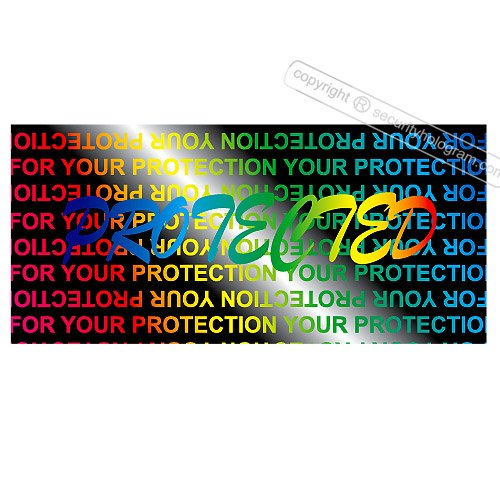 120 3D Stickers Protective Security Holograms ''Protected'' Tamper Evident 1.18'' x 0.51'' (30 x 13 mm) by Security Hologram