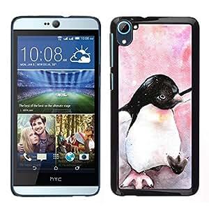 Caucho caso de Shell duro de la cubierta de accesorios de protección BY RAYDREAMMM - HTC Desire D826 - Acuarela pingüino pájaro de bebé Antártida
