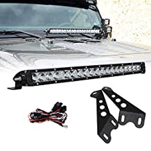 Racbox 100W 20 inch Cree LED Light Bar Combo Hood Mount Bracket for Off Road Wrangler JK 07-15 with Free Wire Harness On/Off Switch