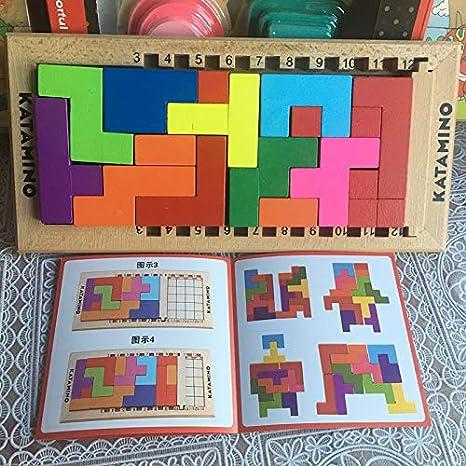 Bloques de madera de haya, bloques de tetris educativos, bloques de construcción de katamino para niños Iq Challenge regalo, por VietSF – 1 pieza – bloque de madera grande: Amazon.es: Juguetes y juegos