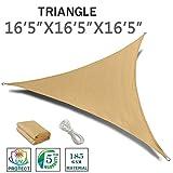 SUNNY GUARD 16'5'' x 16'5'' x 16'5'' Sand Triangle Sun Shade Sail UV Block for Outdoor Patio Garden