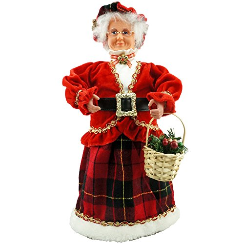 Cosette New Red Velvet Mrs. Claus Christmas Decoration Glasses Basket Hat Holly (Mrs Claus Christmas)
