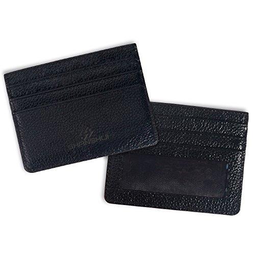 SHANSHUI Slim Wallet RFID Blocking Genuine Leather Front Pocket Wallet Minimalist Secure Thin Credit Card Holder (RFID-BLK)