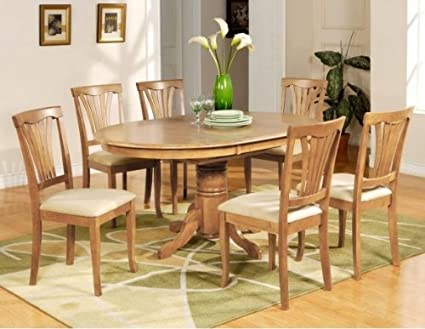Amazoncom Avon PC Oval Dinette Dining Table Microfiber - Oval dining table with 6 chairs