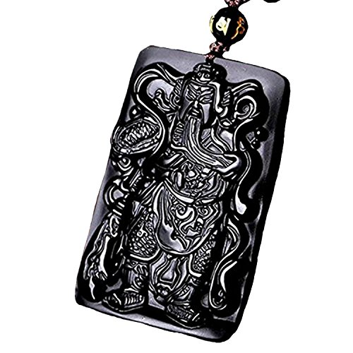 Price comparison product image Betterdecor Feng Shui Obsidian Kwan Kong / Guan Gong Amulet Pendant Necklace for Protection