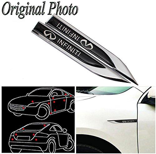 CHAMPLED 2Pcs Great Metal Car Side Fender fit for Black INFINITI Skirts Knife Type Sticker Badge Emblem