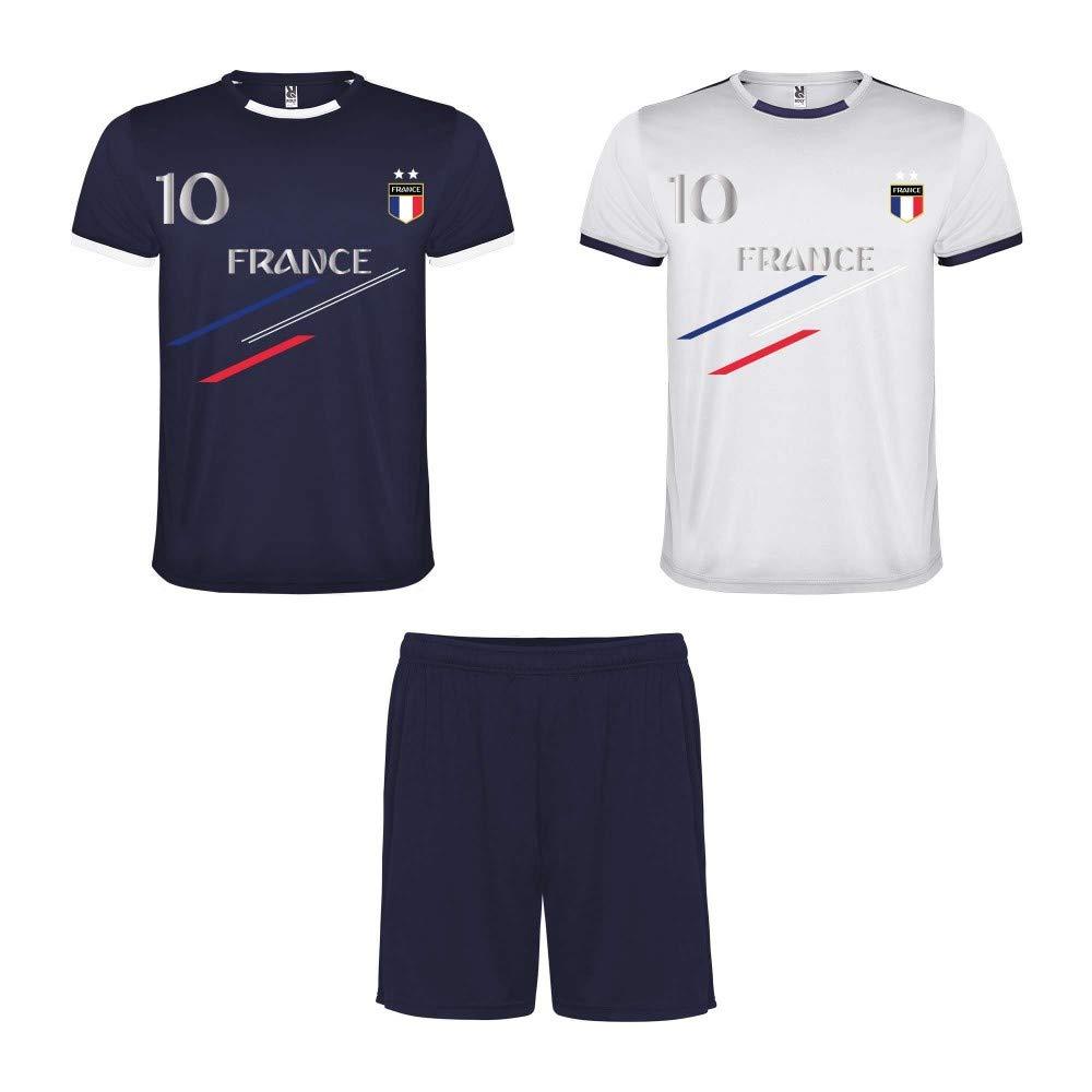 NPZ Ensemble Foot Short avec Lot de 2 Tee Shirt Foot France 2 étoiles Bleu et Blanc Enfant Taille de 4 à 16 Ans