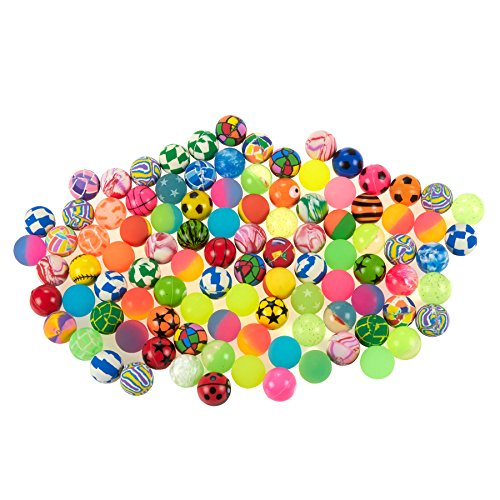 Juvale Bouncy Balls Party Favors - 100-Count Super Bouncy Balls Bulk, Colorful High Bouncing Balls Party Bag Filler, Assorted Designs, 1.25 Inches in Diameter ()