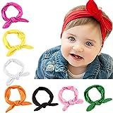Kfnire 8Pcs Newborn Baby Kids Girls Rabbit Ears Hairband Turban Bow Knot Headband