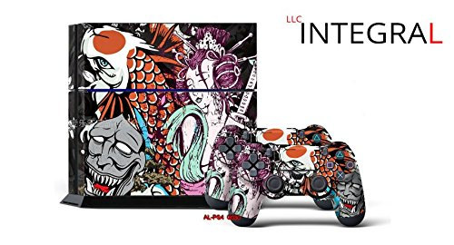 LLC Integral - Japanese Anime Style Decal Cover for Sony PlayStation 4 slim PS4 Console Gamepad pack Sticker + 2 Skins stickers for dualshock 4 Controller