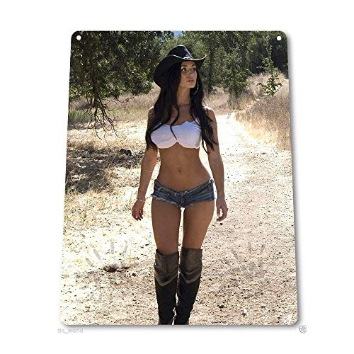 Big Boots Pin-up Sexy Girl Hot Cowgirl Chaps Farm Girl Vintage Retro Tin Sign Metal Sign Metal Poster Metal Decor Wall Sign Wall Poster Wall Decor TIN Sign 7.8X11.8 INCH]()