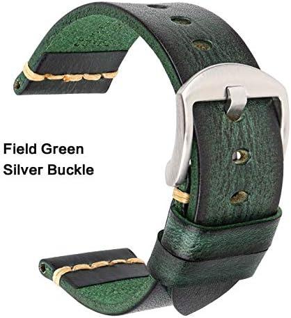 TGBZ ユニバーサル時計手作り時計バンド20ミリメートル21ミリメートル22ミリメートル23ミリメートル24ミリメートルレザー腕時計バンド (Band Color : Green Silver, Band Width : 20mm)