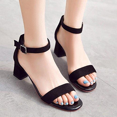 Sandales femme sandales de mode chaussures de talon d'un mot de boucle été cuir tête carrée talon moyen chaussures pour femmes black 40