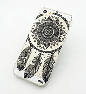 iPhone 5C Case, Wendy's StoresTM Clear Plastic Case Cover for Apple Iphone 5C (Henna Ojibwe Dreamcatcher tribal dream catcher)