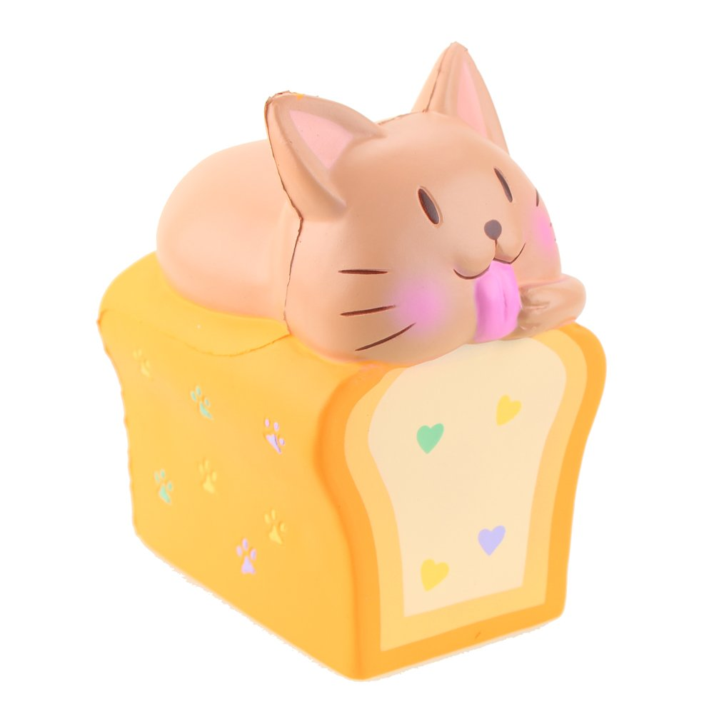 Orange Cat Squishy Kawaii Slow Rising Stress Relief Toys Scented Kids Squeeze Birthday Gift for Kids and Adults Jumbo Squishies Toast Cat 6.1