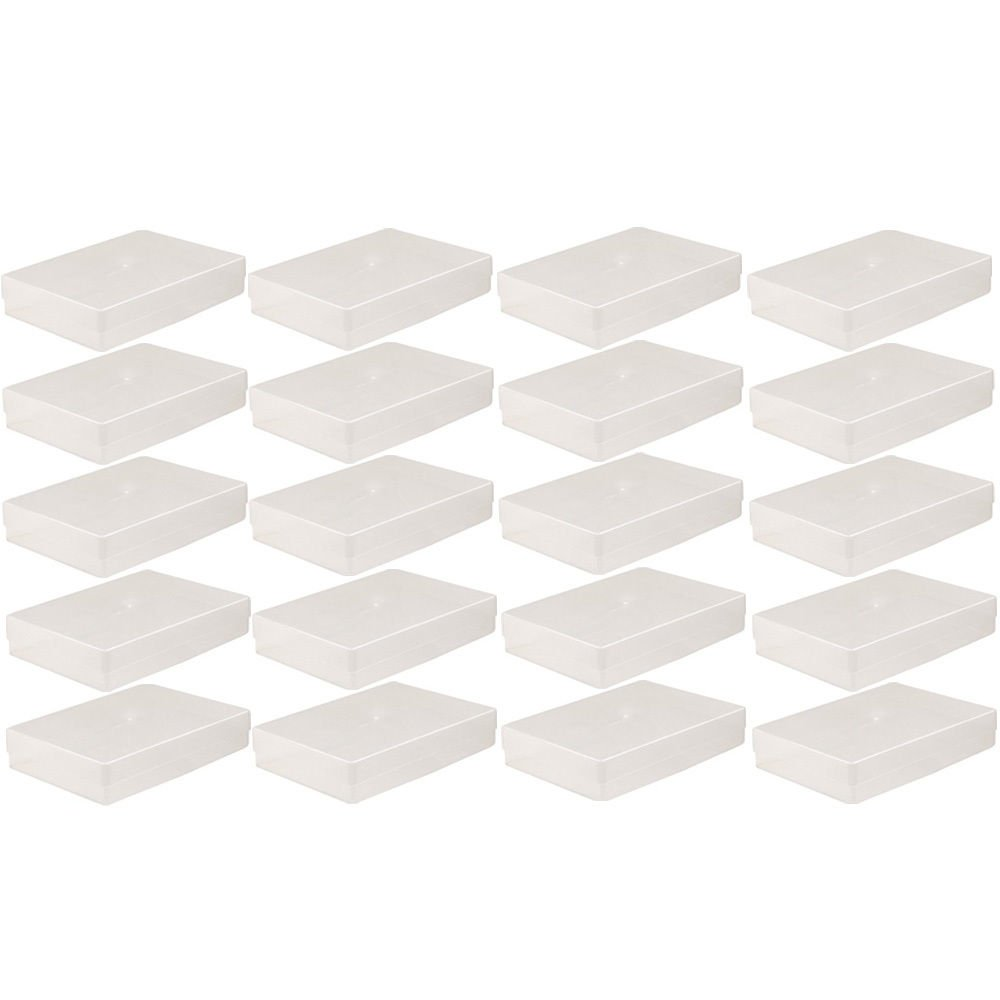 NEW 20 X A4 CLEAR PLASTIC STORAGE BOX HOLDER 304X216X55mm OFFICE PAPER FILING BOXES PACK SET OF 20