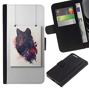APlus Cases // Apple Iphone 6 PLUS 5.5 // Negro Lobo Pintura Arte Dibujo // Cuero PU Delgado caso Billetera cubierta Shell Armor Funda Case Cover Wallet Credit Card