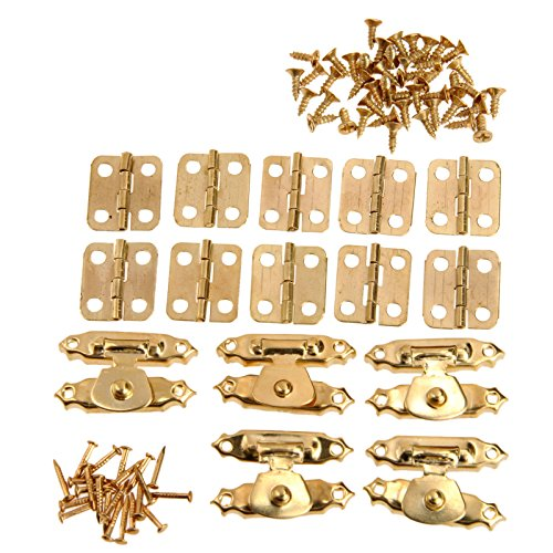 (5Pcs Antique Gold Jewelry Wooden Box Case Toggle Hasp Latch +10Pcs Cabinet Hinges Iron Vintage Hardware Furniture Accessories 1-)