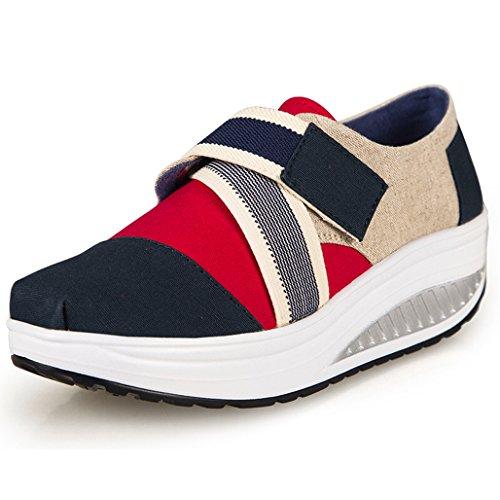 Damen Sneaker Klassiker Keil Plateau Freizeitschuhe Segeltuch Schuhe Eagsouni IEGBQayd