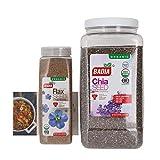 Badia Organic Ground Flax Seed and Organic Chia Seed Bundle (Set of 2) W/ Premium Penguin Recipe Card