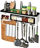 Nail Free Wall Mounted Kitchen Wall Pot Pan Rack,Multifunctional Kitchen Wall Shelf with Hooks,Towel Rack,Knife Slots,Cups,Spice Racks,Phone Holder