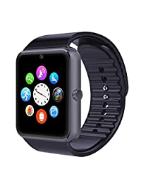 YIRONGWANG Bluetooth Smart Watch with Camera SIM Card / TF Card Slot,NFC,Music Player,Call/SMS/Twiter/Facebook Bluetooth Push,Fitness Tracker Watch for Samsung Huawei Android Phones (Silver) (Black)