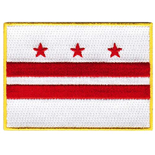 (Washington DC State Flag Embroidered Patch Iron-On District of Columbia Emblem)