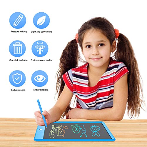 LCD Writing Tablet Colorful 10 Inch Electronic Graphics Doodle Board eWriter Drawing Pad with Memory Lock Gift for Kids & Adults Home School Office Handwriting Tablet (Blue)