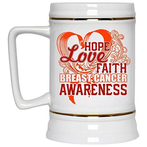 (Christmas Mug, Hope Love Faith Breast Cancer Awareness Beer Mug, Breast Cancer Beer Stein 22oz (Beer Mug-White))