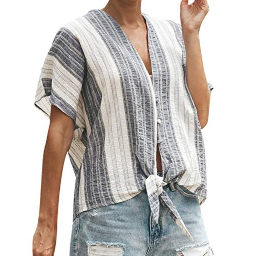Witspace Women's V-neck Casual Short-sleeved Patchwork Striped Top -