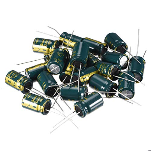 uxcell Aluminum Radial Electrolytic Capacitor Low ESR Green with 22uF 250V 105 Celsius Life 3000H 10 x 16 mm High Ripple Current,Low Impedance 20pcs ()