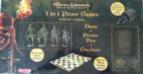 Pirates Of The Caribbean Dice Game - Pirates of the Caribbean; 3 in 1 Pirate Games Collector's Edition (Chess, Pirates Dice, Checkers)