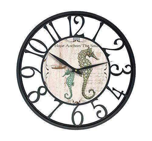 Karen R. Ortega Farm House Wall Clock with sea Horse Design Theme and Black Iron Frame 16 inch