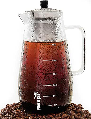 Large Cold Brew Coffee Maker – Glass Pitcher Cold Brewer with Removable Stainless Steel Filter – Iced Tea Infuser Pitcher 48 Oz (1.5 Liters)