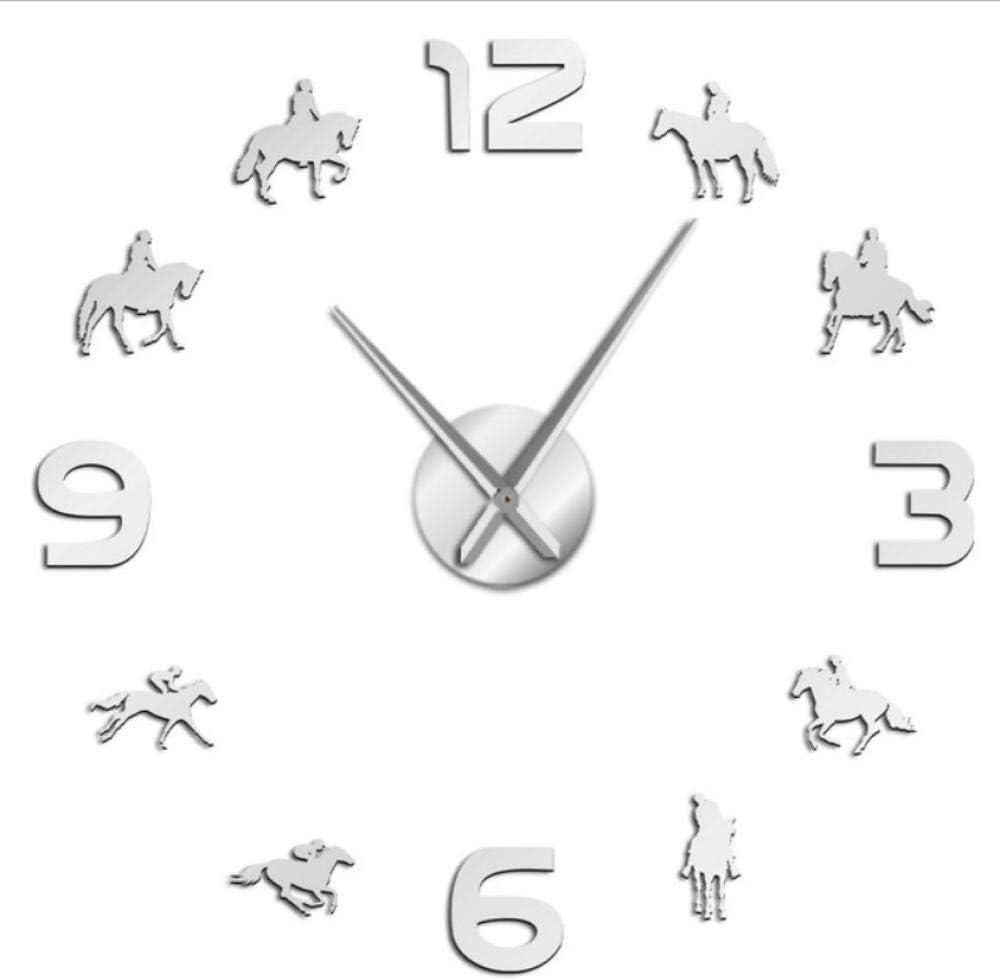 Hyllbb Carrera de Caballos DIY Reloj de Pared Gigante Caballos de Carreras Montar Silueta Arte de la Pared Decoración Sin Marco Espejo Efecto Reloj de Pared Regalo para Jockey-37 Pulgadas