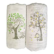 Muslin Swaddle Blankets 2 Pack - Seben Baby - 47  x 47  - Tree Elephant and Monkey - Unisex for Boys or Girls