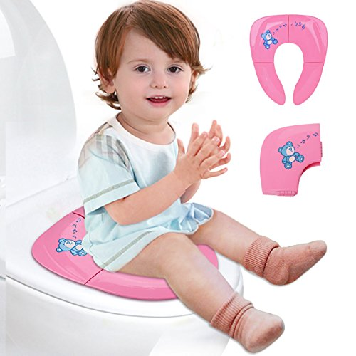 Lightweight Folding Travel Potty Seat for Kid with Carry Bag, Portable Toddlers Potty Seat by Iserlohn, Pink - Folding Potty