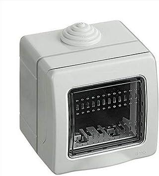 takestop® - Caja de 2 módulos para interruptores de Pared, JK_LK44002, IP55, Caja para Exterior, Placa de Puerta, Estanque, protección de enchufes: Amazon.es: Electrónica